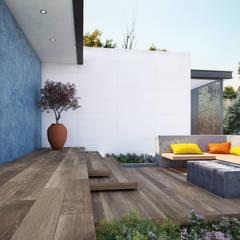 Terrazas con madera cerámica: Terrazas de estilo  por Interceramic MX