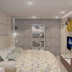 Фьюжн: слияние теплого минимализма и ар-деко в интерьере: Спальни в . Автор – Fusion Dots, Эклектичный