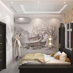 Эко-лофт: интерьер в двухуровневой квартире: Спальни в . Автор – Fusion Dots, Эклектичный