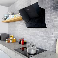 Urocza kuchnia w pastelowej tonacji z okapem Larto: styl , w kategorii Kuchnia zaprojektowany przez GLOBALO MAX