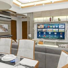 3- Bedroom Condominium Unit:  Living room by Corpuz Interior Design