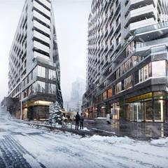 Archviz, Architectural visualization:  Office buildings by weicheng, Modern Bricks
