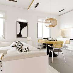 Белый песок: Гостиная в . Автор – Анна Крапивко, Рустикальный