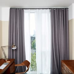 Hackney Penthouse - Hemp and Sheer Curtains:  Study/office by Stitched, Industrial