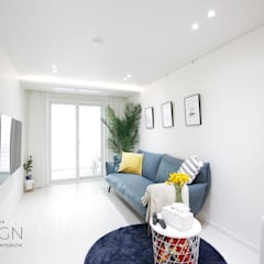 부산 신혼집 인테리어 - 24평 아파트 인테리어: 로하디자인의  다이닝 룸