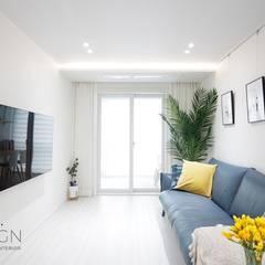 부산 신혼집 인테리어 - 24평 아파트 인테리어: 로하디자인의  거실,북유럽