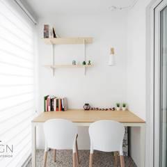 부산 신혼집 인테리어 - 24평 아파트 인테리어: 로하디자인의  베란다,북유럽
