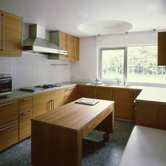 中軽井沢ヴィラ 原生林にいだかれた暖炉のある平屋の住まい: JWA,Jun Watanabe & Associatesが手掛けたキッチンです。