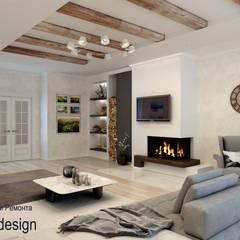 Дизайн квартиры с камином: Гостиная в . Автор – Цунёв_Дизайн. Студия интерьерных решений.,