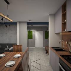Mieszkanie na poddaszu, 58 m2, Polkowice: styl , w kategorii Aneks kuchenny zaprojektowany przez KN.wnętrza