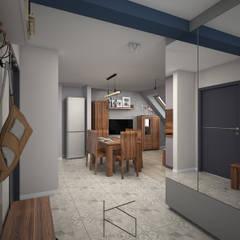 Mieszkanie na poddaszu, 58 m2, Polkowice: styl , w kategorii Korytarz, przedpokój zaprojektowany przez KN.wnętrza