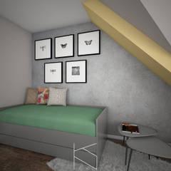 Mieszkanie na poddaszu, 58 m2, Polkowice od KN.wnętrza Nowoczesny Drewno O efekcie drewna