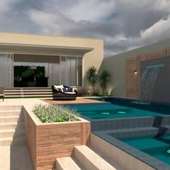 Projekty,  Basen bez krawędzi zaprojektowane przez Kaia Navarro Arquitetura e Interiores