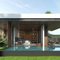 Garden Pool by SRStudio, Minimalist لکڑی Wood effect