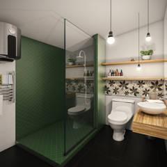 VIVIENDA FQ: Baños de estilo  por PAR Arquitectos, Moderno Cerámico