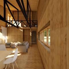 Diseño de Casa Rural en Coyhaique: Livings de estilo  por casa rural - Arquitectos en Coyhaique, Rural