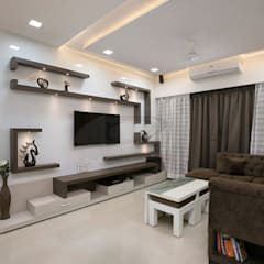 MR.LALIT SHARMA'S RESIDENCE IN KHARGHAR:  Living room by DELECON DESIGN COMPANY,Minimalist Wood Wood effect