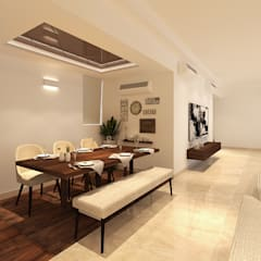 Apartment at DLF The Crest, Golf Course Road:  Dining room by The Workroom,Modern