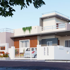 2 B H K BUNGALOW 3 D EXTERIOR DESIGN:  Bungalows by 3rdeye.vision and interiors