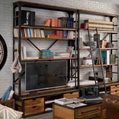 Librerie industrial legno e ferro: Soggiorno in stile  di nuovimondi di Flli Unia snc