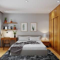 BIỆT THỰ VINHOMES THĂNG LONG : CÓ CĂN NHÀ NẰM NGHE NẮNG MƯA:  Phòng ngủ by Green Interior,