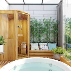 BIỆT THỰ VINHOMES THĂNG LONG : CÓ CĂN NHÀ NẰM NGHE NẮNG MƯA:  Phòng tắm by Green Interior