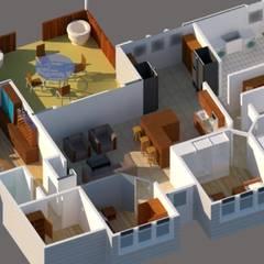 Diseño Vivienda 1 planta 196 M2: Casas unifamiliares de estilo  por CEC Espinoza y Canales LTDA