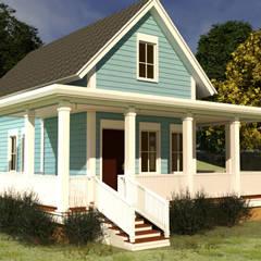 Diseño casa de Campo estilo americano 91.4 M2: Casas de campo de estilo  por CEC Espinoza y Canales LTDA