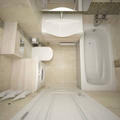 маленькая трехкомнатная квартира на Новоясеневской: Ванные комнаты в . Автор – lesadesign, Модерн