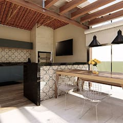 ´Reforma e Interiores - Área de Lazer em Cachoeira do Campo/MG Cozinhas rústicas por Polliana Pertence Arquitetura e Interiores Rústico Madeira Efeito de madeira