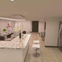 Small-kitchens توسطadc arquitectos, مینیمالیستیک چوب صنعتی Transparent