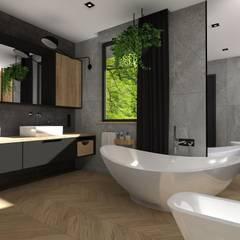 Projekt domu jednorodzinnego : styl , w kategorii Łazienka zaprojektowany przez KADA WNĘTRZA S.C.