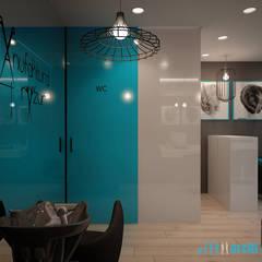 Projekt salonu fryzjerskiego MANUFAKTURA FRYZUR w Białej: styl , w kategorii Powierzchnie handlowe zaprojektowany przez Archi group Adam Kuropatwa