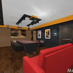 Kino w domu - różne projekty.: styl , w kategorii Pokój multimedialny zaprojektowany przez MAXDESIGNER,