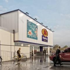 JK Kilgelmann Supermercados Galerías y espacios comerciales de estilo industrial de Estudio NP+a Industrial