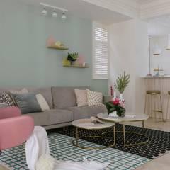 紛染.綿綿|Trochee of Tints:  客廳 by 理絲室內設計有限公司 Ris Interior Design Co., Ltd.,