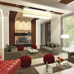 Dheeraj Residence, Meera Bagh, New Delhi Eclectic style living room by Space Interface Eclectic