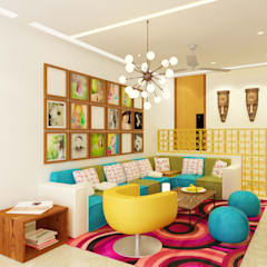 Dheeraj Residence, Meera Bagh, New Delhi Eclectic style media room by Space Interface Eclectic