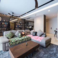 RESIDENTIAL - SERI RIANA RESIDENCE:  Living room by Dezeno Sdn Bhd