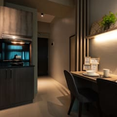 Warm & Cozy - The Symphony Tower 2 (QC):  Small kitchens by MVRX Designs,