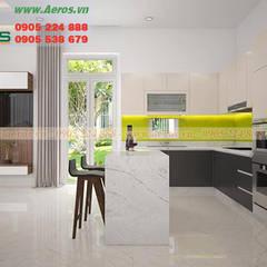 THIẾT KẾ THI CÔNG NỘI THẤT CĂN HỘ CHỊ YẾN, QUẬN THỦ ĐỨC:  Nhà bếp by Cong ty thiet ke noi that Aeros