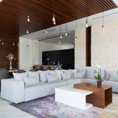 casa de la p: Salas de estilo  por Daniel Cota Arquitectura   Despacho de arquitectos   Cancún,