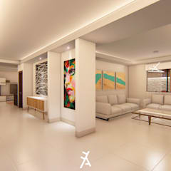 Residencial Frondoso: Pasillos y recibidores de estilo  por FA Arquitectos