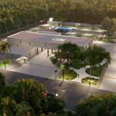 Estación de Bomberos A.N Cancún: Estudios y oficinas de estilo  por Basal Arquitectos