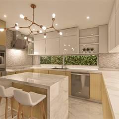DISEÑO DE COCINA - VILLA CAMPESTRE: Armarios de cocinas de estilo  por DIKTURE Arquitectura + Diseño Interior,