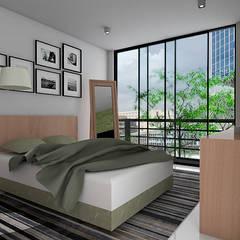 Casa ZEN - QRO: Recámaras pequeñas de estilo  por REA + m3 Taller de Arquitectura