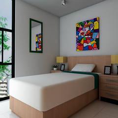 Casa ZEN - QRO: Recámaras para adolescentes de estilo  por REA + m3 Taller de Arquitectura, Moderno