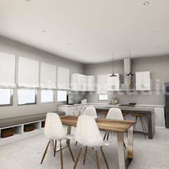 3D Interior Kitchen & Living room Design of Virtual Reality Real Estate Companies by 3D Architectural Design, Malta – Europe by Yantram Architectural Design Studio Modern