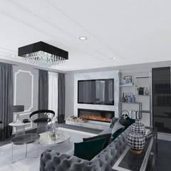 Altuncu İç Mimari Dekorasyon – Hollanda Eindhoven Villa projesi Salon Tasarımı:  tarz Oturma Odası,