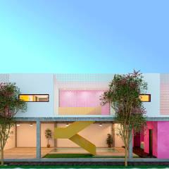 Alberca + Departamentos: Casas multifamiliares de estilo  por Laboratorio Mexicano de Arquitectura